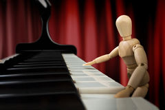 One Blues Note. Practicing hard to be a good pianist Royalty Free Stock Photography
