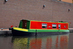 One boat on the old canal in Birmingham Stock Photo