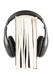 One book with headphones Royalty Free Stock Images