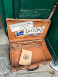 One book left in the Lucky Dip outside Shakespeare and Co, Paris, France stock images