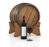 Bottle and glass. One bottle and glass of red wine with a barrel on background (3d render Royalty Free Stock Photo
