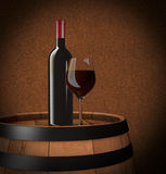 Bottle and glass. One bottle and glass of red wine on a barrel (3d render Royalty Free Stock Photo