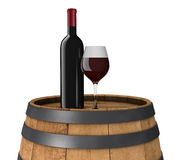 Bottle and glass. One bottle and glass of red wine on a barrel (3d render Royalty Free Stock Photography