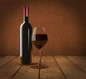 Bottle and glass. One bottle and glass of red wine (3d render Royalty Free Stock Photography