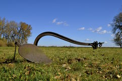 One bottom steel horse plow Stock Photo