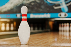 One bowling pin background bowling lane Stock Image