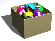 In one box. Balls with flags of the different countries in one box Vector Illustration