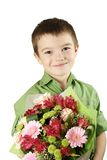One boy with bouquet of flower Stock Image
