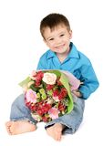 One boy with bouquet of flower Royalty Free Stock Image