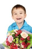 One boy with bouquet of flower Stock Photos