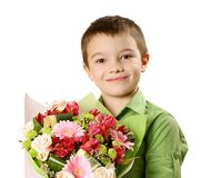 One boy with bouquet of flower Royalty Free Stock Photos