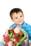 One boy with bouquet of flower Royalty Free Stock Photo