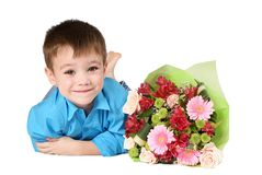 One boy with bouquet of flower Stock Photography