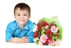 One boy with bouquet of flower Royalty Free Stock Photography