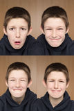 One boy many faces Stock Photo