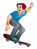 One boy on skateboard. Skateboarder in action, illustration on white background Royalty Free Stock Photos