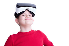 One boy with virtual reality glasses Stock Photos