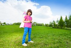 One boy wears paper rocket toy on his shoulders Royalty Free Stock Photo