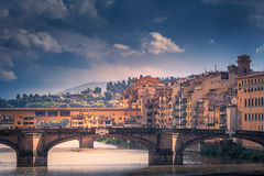 One bridge further. Cityscape of Florence from a Bridge Royalty Free Stock Images