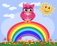 One bright, cartoonish, beautiful, pink owl with bows on the ear sit on the rainbow. One bright, cartoonish, beautiful, pink owl with bow on the ear sit on the stock illustration