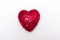 One bright heart. One red heart on white nackground Royalty Free Stock Photography
