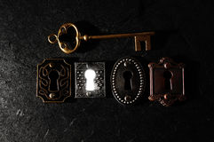 One bright lock and a key Royalty Free Stock Image