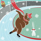 One brown bear is Sprinter skating.Humorous vector. One brown bear runs sprint skating at the stadium. Humorous illustration.Olympic games. Winter sport Royalty Free Stock Photography