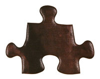 One brown piece of jigsaw puzzle Stock Photography