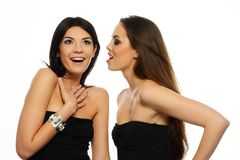 One brunette girl telling gossip to anothe Stock Image