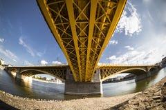One of Budapest on the Danube bridge Royalty Free Stock Photo