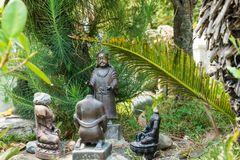 The small sculptural composition in the Park of Kopan monastery, Kathmandu, Nepal. stock image