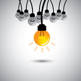 One bulb glowing with ideas - success vector Royalty Free Stock Images