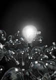 One bulb to rule them all. 3D render of one shiny bulb amongst dim ones Stock Photos
