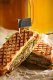 One burger with sliced cutlet, lettuce and cheese Royalty Free Stock Image