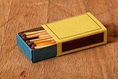 One burnt match in a full matchbox Royalty Free Stock Photography