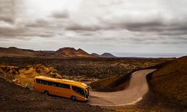 The bus rides around the island around the volcano royalty free stock images
