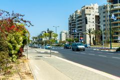 One of the busiest streets in the northern part of the Tel Aviv Royalty Free Stock Photos