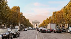 Beautiful sunset at Champs-Elysees royalty free stock photography