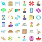 One business icons set, cartoon style. One business icons set. Cartoon style of 36 one business vector icons for web isolated on white background Stock Photos