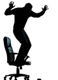 One business man afraid mouse computer silhouette Stock Image