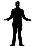 One business man arms outstreched silhouette Royalty Free Stock Image