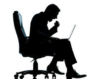 One business man computer computing success sitting in armchair Stock Image
