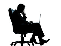 One business man computer sitting Royalty Free Stock Photo