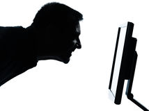 One business man face silhouette with computer Stock Photos