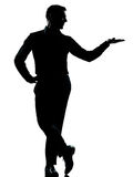 One business man hand open silhouette Royalty Free Stock Photo
