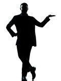 One business man hand open silhouette Royalty Free Stock Image