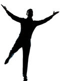 One business man happy spreading arms silhouette Stock Photography