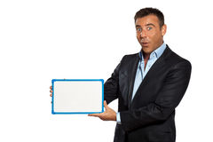 One business man holding showing whiteboard Stock Photos