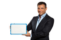 One business man holding showing whiteboard Stock Images
