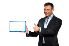One business man holding showing whiteboard Stock Photo